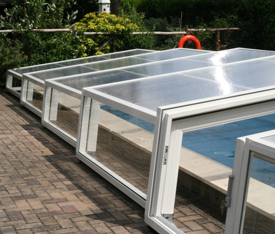 This low enclosure would also fit an above ground pool.