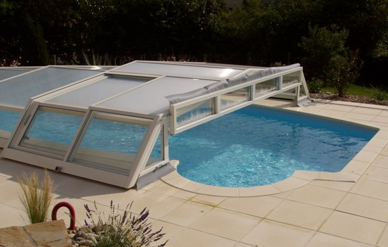 Shelters pool bottom pool enclosure iris covered swimming pool and spa she - Cout piscine desjoyaux ...