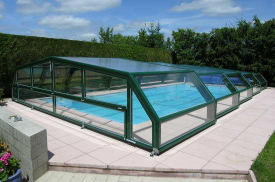 The rear view of a low pool enclosure