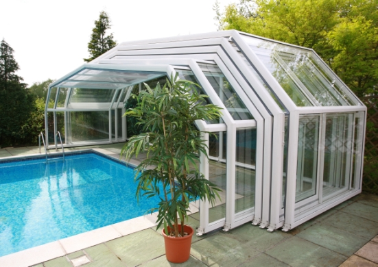 The 5 angle pool enclosure shown in a part extended position