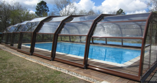 The interior view of a 7 Angle brown Ondine pool enclosure.