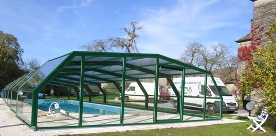 Abri piscine télescopique intermédiaire VENUS en 5 angles Vert : mon futur abri