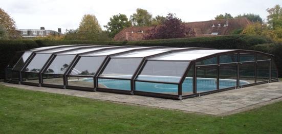 Abri piscine télescopique intermédiaire VENUS en 7 angles marron
